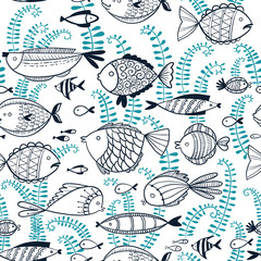 Vector seamless pattern with fishes in cartoon style