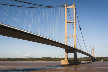 England. East Yorkshire. 2010. A view of the Humber bridge looking north from Lincolnshire into Yorkshire.