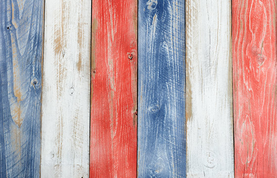 Vertical stressed boards painted in USA national colors for Independence or memorial day