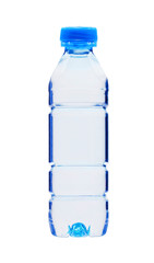 Blue plastic bottle of water isolated on white background