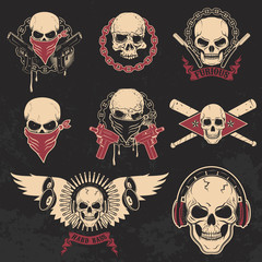 Set of skulls emblems. T-shirt print templates.