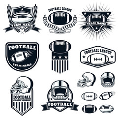 Set of the american football labels, emblems and design elements