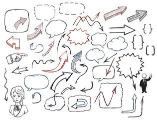 Hand-drawn arrows and speech bubbles illustration set