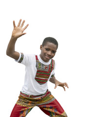 Ten-year-old boy dancing, isolated, white background
