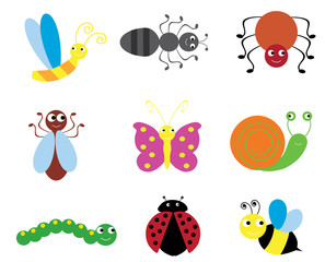 vector illustration of set of fun bugs