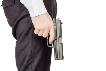 business man holding a gun.  isolated on whit background