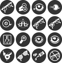 Ophthalmologist set of icons