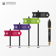 Timeline infographics. Flags. Vector