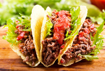 mexican tacos with meat and  salsa