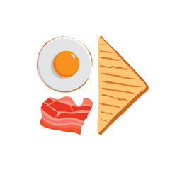 Fried eggs icon. Fried eggs isolated background. Plate fried eggs. American breakfast illustration. Bacon vector illustration. Bacon isolated background. Toast icon. Toast vector illustration