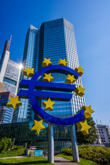 Euro sign at European Central Bank headquarters in Frankfurt