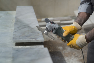 marble repair with angle grinder