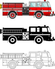 Different kind fire trucks isolated on white background in flat style: colored, black silhouette and contour. Vector illustration.