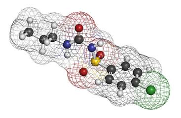 Chlorpropamide diabetes drug molecule. 3D rendering.