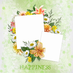 Green background with beautiful flowers and frames with space for photo or text