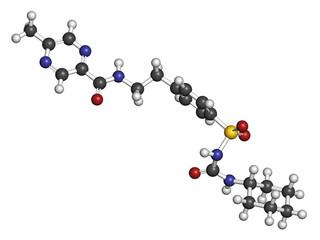 Glipizide diabetes drug molecule. 3D rendering.