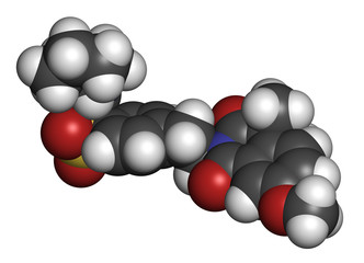 Gliquidone diabetes drug molecule. 3D rendering.