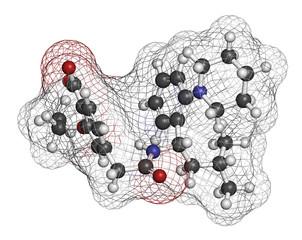 Repaglinide diabetes drug molecule. 3D rendering.