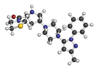 Teneligliptin diabetes drug molecule. 3D rendering.