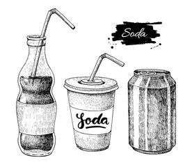 Vector soda drawing. Hand drawn soda illustrations.