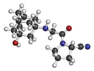 Vildagliptin diabetes drug molecule. 3D rendering.
