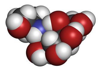 Voglibose diabetes drug molecule. 3D rendering.