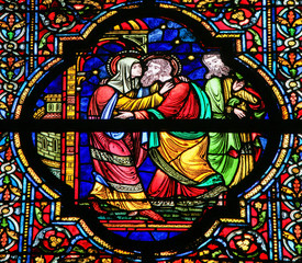 Mother Mary and Saint Joachim - Stained Glass