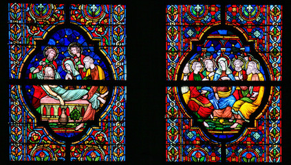 Fototapete - Stained Glass - Burial of Jesus and Pentecost