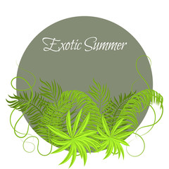 Summer Tropical Green Plants in round circle frame. Exotic jungle palm leaves and branches for greeting card or invitation.