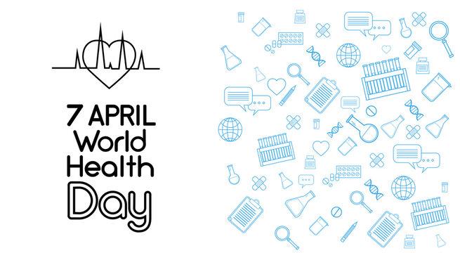 World Health Day Medicine Banner Sketch Background