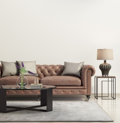 Contemporary elegant living room with leather sofa