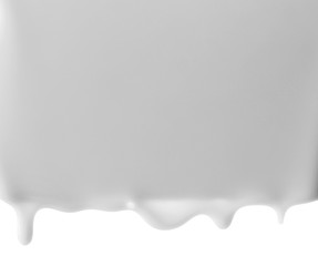 Flows milk, isolated on white