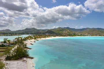 Caribbean bay - Antigua island with white sand, turquoise ocean