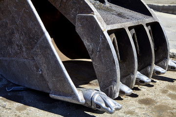 Recycling Excavator Bucket Clamshell Thumb Closeup
