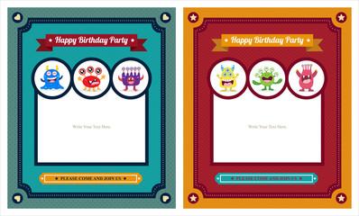 Cute Monster Invitation Birthday Card