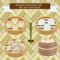 Bamboo steamers with dim sum and baozi