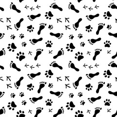 Footprints of human, cat, dog, birds black and white seamless pattern, vector