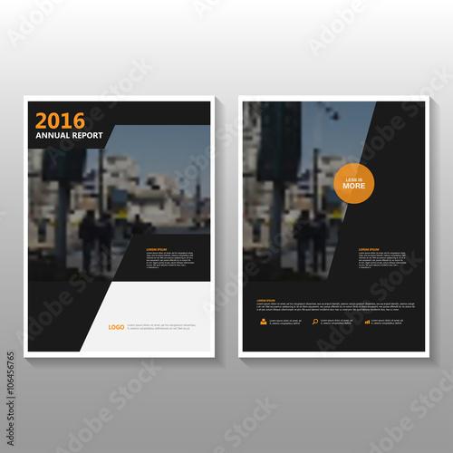 black orange vector annual report leaflet brochure flyer template design book cover layout design