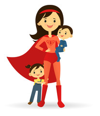 Superhero mother and her two children