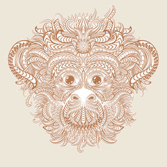 Tattoo design head of the monkey.