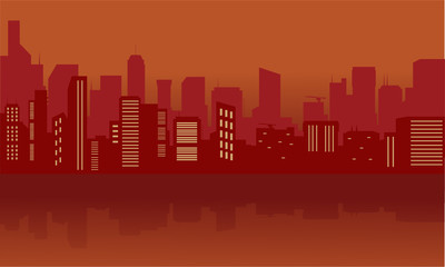 Silhouette of city with red color