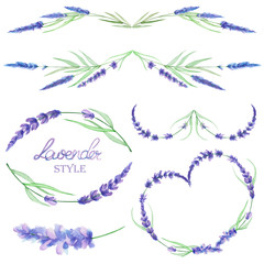 A set with an isolated frame borders, floral decorative ornaments with the watercolor lavender flowers, hand drawn on a white background for a wedding or other decoration
