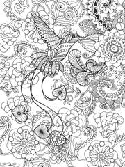 Bird of paradise in fantasy garden