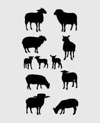 Sheep Silhouettes Set, art vector design