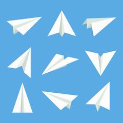 Paper plane vector set