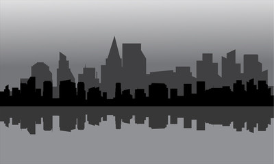 Silhouette of city full buildings