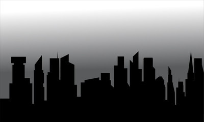 Silhouette of the city with tall buildings
