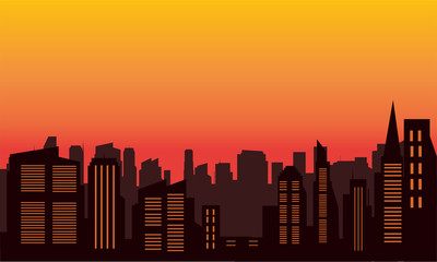 Silhouette of city colorful