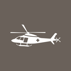 Helicopter Icon on Dark Gray Color. Eps-10.