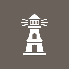 Lighthouse Icon on Dark Gray Color. Eps-10.